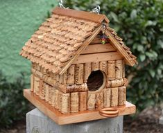 CUSTOM MADE Bird House using Repurposed Wine Corks and Reclaimed Wood, Original unique hanging birdhouse, Fun whimsical birdhouse - Gardens - Bird Supplies Wine Cork Projects, Wine Cork Crafts, Wine Bottle Crafts, Wine Bottles, Bottle Candles, Homemade Bird Houses, Bird Houses Diy, Wine Cork Birdhouse, Diy Birdhouse