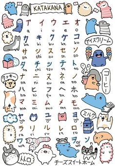 • cute japan japanese kawaii cats doodle totoro learning alphabet chi katakana chi's sweet home kirakiradoodles •