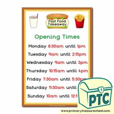 Fast Food Takeaway Role Play Resources - Primary Treasure Chest Teaching Activities, Teaching Ideas, Ourselves Topic, Candy Shop, Role Play, Treasure Chest, Sweets, Foods, Times