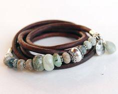 Gemstone leather bracelet moss aquamarine jade peruvian opal fossil jasper beaded bracelet by eve Leather Jewelry, Boho Jewelry, Jewelry Bracelets, Jewelry Accessories, Handmade Jewelry, Jewelry Design, Fashion Jewelry, Country Jewelry, Cowgirl Jewelry