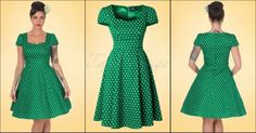 Dolly and Dotty 50s Claudia Polkadot Swing Dress in Green >>> http://pinup-fashion.de/2d6jfDc