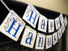 HAPPY HANUKKAH Banner sign garland decoration by bekahjennings, $22.00
