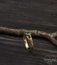 Branch engagement ring with Topaz Women's branch gold