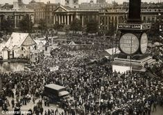 Armistice Day 1918: Crowds in London's Tralfalgar Square celebrating the end of the first world war