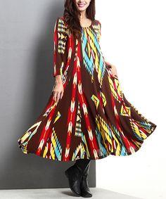 Look at this #zulilyfind! Brown Southwest A-Line Maxi Dress by Reborn Collection #zulilyfinds