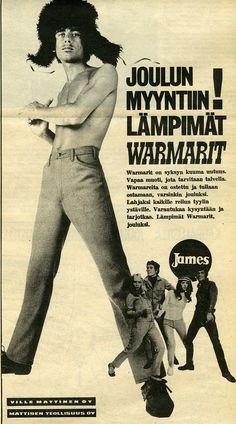 Warmarit #Jamekset #James #Mattisen #farkut #joulu #mainokset #vanhatmainokset Vintage Ads, Finland, Nostalgia, Peanuts Snoopy, Female, Posters, Nice, Style, Peda