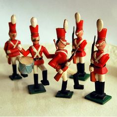 """Babes in Toyland Disneykins Toy Soldiers by Marx, 1961. Photo by calloohcallay shared via Flickr. Eight different hand-painted molded plastic toy soldiers were released by Marx in 1961, following the launch of the film """"Babes in Toyland."""""""