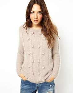 ASOS Petite Fluffy Arran Jumper With Bobbles