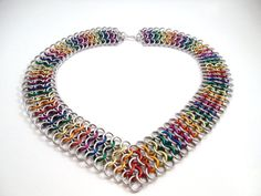 Rainbow Chainmail Chevron Necklace
