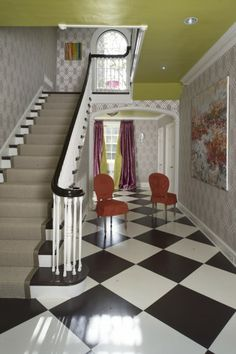 From Barry Dixon's The Naturals with Paint -- Viburnum -- designed by Camille Saum Checkered Floors, Purple Table, Lego Room, Wall Patterns, Kitchen Colors, House Tours, Room Inspiration, Painted Furniture, Family Room
