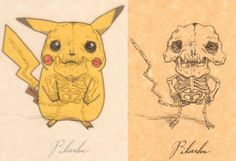This artist draws the skeletons of cartoon characters. Pikachu has fangs?