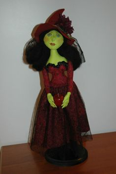 cloth doll, art doll, witch, halloween