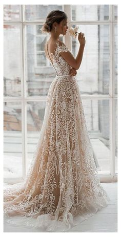 Stunning Embroidered Nude Sweetheart A-Lane Wedding Dress / Bridal Gown with Off Shoulder Illusion, V-Back Cut Illusion and a Train. Dress by Natalia Romanova Country Wedding Dresses, Black Wedding Dresses, Bridal Dresses, Wedding Gowns, Lace Wedding, Wedding Bride, Wedding Ideas, Christmas Wedding Dresses, Backless Wedding