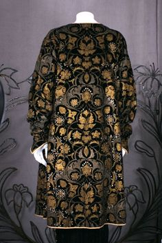 Mariano Fortuny Black Stencilled Velvet Persian Style Coat | From a collection of rare vintage coats and outerwear at http://www.1stdibs.com/fashion/clothing/coats-outerwear/