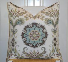 Suzani Decorative Pillow Cover - Aqua Blue - Grey - Brown - Pale Yellow- Floral Medallion