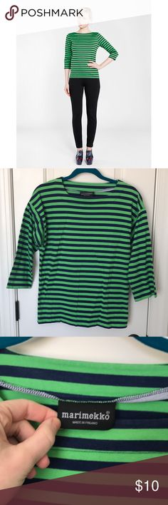 Marimekko Striped Cotton Shirt Green and navy striped Marimekko cotton shirt with structured sleeve detail. Minor piling and loose stitch under one armpit and small tear at bottom seam (pictured). Simple fixes for a designer top! Marimekko Tops Tees - Long Sleeve
