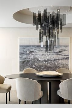 Dining Room at our Toronto Penthouse Condo Renovation Dining Contemporary by Elizabeth Metcalfe Interiors & Design Inc Dining Room Walls, Dining Room Design, Interior Design Living Room, Interior Decorating, Room Interior, Modern Dining Table, Dining Area, Round Dining, Dinner Room