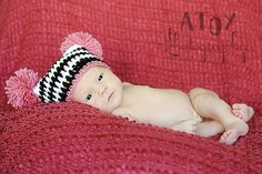 POMPOM Crocheted hat  0 to 3 months by NanasKnottyCreations, $10.99