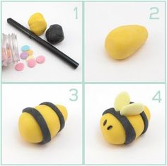 fondant bugs for spring cupcakes, cookies, and cake decorating Fondant Bee, Fondant Toppers, Cupcake Toppers, Black Fondant, Fondant Figures, Bee Cakes, Cupcake Cakes, Mini Cakes, Cake Decorating Tips