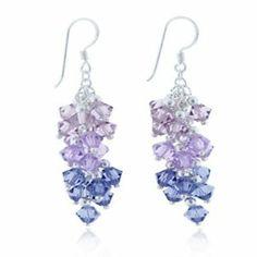 Lavender Cluster Faceted Swarovski Crystal Sterling Silver Dangle Hook Earrings