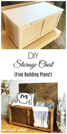 How to build a simple DIY Storage Chest. Get the free building plans for this easy to make trunk that you could use for toy storage, a coffee table, entryway bench, or even a keepsake box! storage bench How to Build a Simple DIY Storage Chest Diy Furniture Building, Diy Furniture Plans Wood Projects, Easy Woodworking Projects, Woodworking Tools, Baby Furniture, Furniture Storage, Wood Furniture, Modern Furniture, Outdoor Furniture