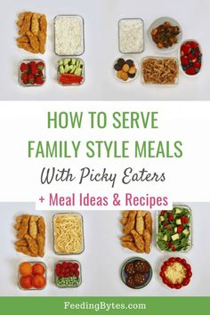 How to serve family style meals with picky eaters: Tired of preparing special meals for your picky eater? Here are family style dinner ideas that work for picky eaters, with tips on the do's and don'ts of having family meals with picky eaters. Easy Family Meals, Easy Meals, Family Recipes, Kid Recipes, Toddler Meals, Kids Meals, Toddler Food, Easy Vegetable Side Dishes, Picky Eaters Kids