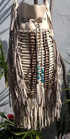Nude Boho Festival Leather Tassel Bag  Raw by YANNIKAaustralia, $120.00