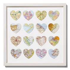 map hearts from our vacation trips, like an adventure on an adventure since you gotta find a map of where you've been when you go