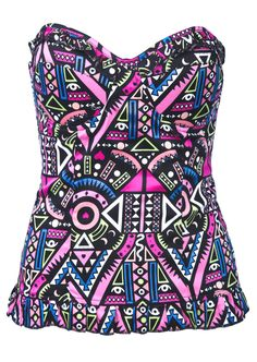 Pink Tribal Geometric Pattern Sweetheart Neck Bandeau Top / Shirt