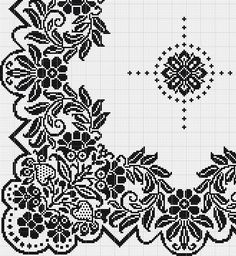 Kira scheme crochet: Scheme crochet no. Filet Crochet Charts, Crochet Borders, Cross Stitch Borders, Crochet Cross, Crochet Stitches Patterns, Crochet Motif, Cross Stitching, Cross Stitch Embroidery, Embroidery Patterns
