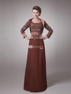 Two-Piece Brown Sash Satin Mother Of Bride And Groom Dress. This kind of dress feastures its sash decoration with lace bodice,and long sleeves overcoat is included.Made of satin and lace.. See More Mother of the Bride Dresses at http://www.ourgreatshop.com/Mother-of-the-Bride-Dresses-C928.aspx