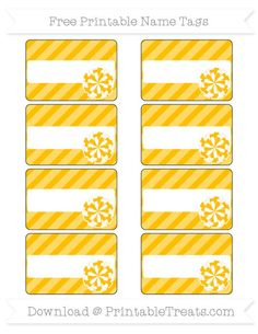 Free Amber Diagonal Striped  Cheer Pom Pom Name Tags