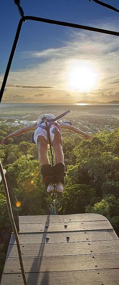 I would close my eyes as I jumped off and open them mere seconds later to see the ground ahead as the bungee pulled me abruptly back up...