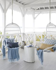 From a new light fixture to fresh bedding, a fun accessory to a new throw, we are so excited about all the little touches of spring we can add to our homes! Beautiful Beach Houses, Dream Beach Houses, White Beach Houses, Pretty Beach House, Boho Dekor, Tropical Home Decor, Style Deco, Beach House Decor, Beach House Bedroom