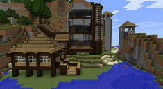 awesome minecraft houses | Here you can see the little house/entry to the mountain base now has a ...