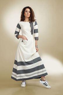 Show details for Pristine white & grey designer long kurti