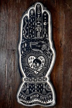 Bryn Perrot - wood cuts -- For Idle Hand Tattoo in San Francisco. 2013