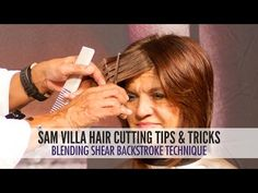 Blending shear backstroke - use to step bangs to side or in crown to add volume with no layers