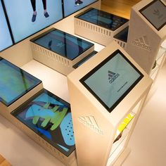 Design showcase: Adidas puts customer interaction on a pedestal - Retail Design World Kiosk Design, Display Design, Retail Design, Store Design, Digital Kiosk, Digital Retail, Digital Signage, Interactive Display, Interactive Installation