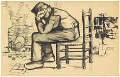 Vincent van Gogh Peasant Sitting by the Fireplace (Worn Out) Letter Sketches
