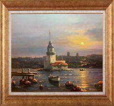 Murat Ersin Istanbul City, Arte Popular, Watercolor Illustration, Lighthouse, Framed Art, Art Drawings, Tower, Painting, Design