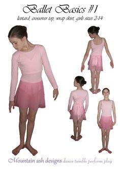 pdf pattern ballet basics 1 ballet leotard, crossover top, wrap top, ballet skirt, wrap skirt, girls sizes 2-14. $8.00, via Etsy.