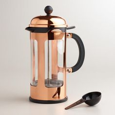 An elegant new version of the original French press designed by Bodum in the 1950's, our Chambord coffee maker is still the simplest and best way to brew the perfect cup of coffee. Its sophisticated design features a shiny copper-plated steel frame and lid. $40