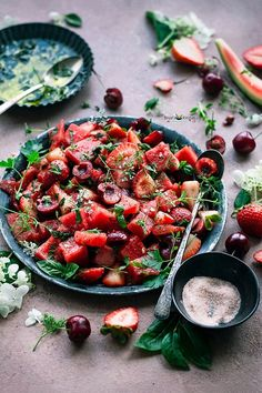 Mar 5, 2021 - Watermelon Berry Salad, perfect summer salad with fresh seasonal fruits blend with garden fresh herbs and tangy honey lime vinaigrette. Honey Lime Vinaigrette, Honey Lime Dressing, Fresh Herbs, Fresh Fruit, Berry Salad, Vegetarian Recipes, Healthy Recipes, Chaat Masala, Fruit In Season