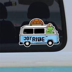 Joy Ride Campervan Tortoise Sticker, Bumper Sticker, Van Sticker, Travel Sticker, Outdoor Adventure Sticker, Camping Sticker, Cool Sticker by UnderTheHUD on Etsy https://www.etsy.com/uk/listing/546517487/joy-ride-campervan-tortoise-sticker