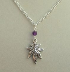 Silver Cannabis pot leaf amethyst necklace Weed by GemmaJolee, $11.50
