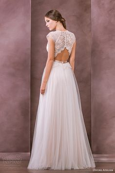 jewel neckline cap sleeves plunging neckline tullet a line gown antonia back