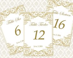 DIY Printable Wedding Table Number Template | Instant Download | Victorian Florals in Gold