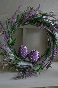 Purple Easter Wreath with embellished eggs