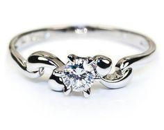 Ribbon 6-Prong Set Solitaire Diamond Ring  18K White Gold 0.21 ct. tw.